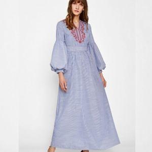 SHEIN Blue Latern Sleeve Embroidered Stripe Dress